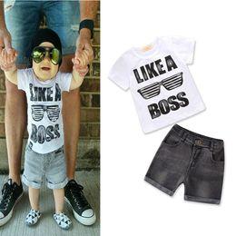 6cf280e7f0c6a 2019 jeans de marque bébé Vêtements pour enfants de marque survêtement  patron impression tshirts denim shorts