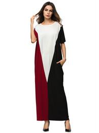 b46cf29317 2018 Black White Red Panelled Style Abaya Short Bating Sleeve Long Robe  Gowns Middle East Arab Islamic Prayer Clothing