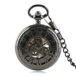 2019 мужские часы панк Mechanical Hand Wind Pocket Watch Men Skeleton Hollow Retro Pattern Roman Number Vintage Punk Clock Gifts Relogio De Bolso скидка мужские часы панк
