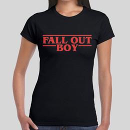 pia batismal da camiseta Desconto T das mulheres 2018 Moda Fall Out Boy Coisas estranhas Logo Logo Música Não Oficial T Shirt Tee Mulheres Meninas 100% Algodão de Manga Curta