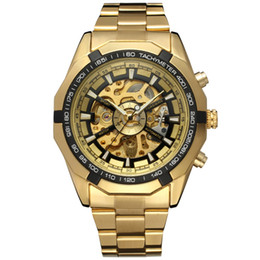 Wholesale Vintage Skeleton Automatic Watch - Wholesale- Forsining Watch Men Fashion Relogio Masculino Automatic Mechanical gold skeleton vintage watch 2017 Mens Watch Top Brand Luxury
