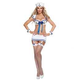 uniformes de la marina Rebajas Mujeres calientes blanco uniforme sexy chica trajes de marino marinero Top + Mini falda trajes de cosplay lencería sexy conjunto traje