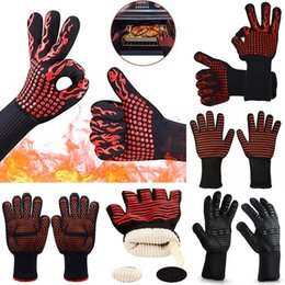 Wholesale heat finger - 6styles Extreme Heat Resistant Cooking Gloves Hot BBQ picnic baking kitchen Grilling oven Welding Forearm Protection anti heat Gloves FFA534