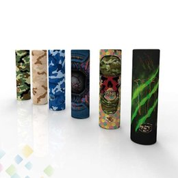 Pegatinas de cigarrillos online-20700 E cigarette Battery PVC Camo Skin Sticker Vaper Wrapper Cover Sleeve Shrinkable Wrap Heat Shrink Cover Stickers DHL Gratis