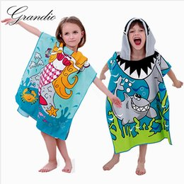Wholesale Towelling Beach Robes Children - Wholesale-Microfiber Hooded Bath Towel for Children Quick Dry Super Absorbent Kids Girls Travel Beach Towel Poncho Bath Robe 60x120cm