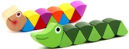 Jeux pour enfants en Ligne-Ver Coloré En Bois Didactiques Casse-tête Enfants Apprentissage Éducatif Développement Bébé Jouets Doigts Jeu Pour Enfants Du Cadeau