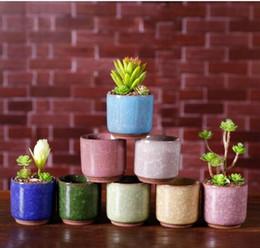 2019 vasi da fiori per ufficio Ice Crack Flower Pots Piante da giardino succulente Pentola Mini Thumb Scrivania da ufficio Fiori in ceramica di alta qualità sconti vasi da fiori per ufficio