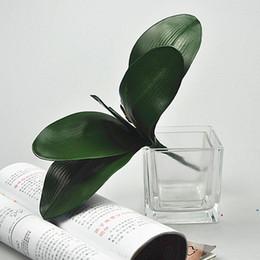 Le foglie di orchidee online-Artificiale verde foglie di rosa / farfalla orchidea foglia di seta bellezza pianta Decor foglie di seta verde per la decorazione di nozze regalo corona fai da te