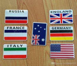 badges allemagne Promotion Mode Voiture Style Drapeau National 3D En Métal Chrome En Alliage D'aluminium Emblème Badge Autocollant Pour L'Amérique Américaine L'Australie La France L'Allemagne L'Angleterre