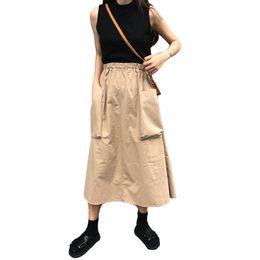 baumwoll-röcke elastische taille lässig Rabatt Neue Rock Frauen 2018 Sommer Elastische Hohe Taille Große Tasche Röcke Lose Solide Sexy Elegante Röcke Frauen Baumwolle Casual Jupe Faldas