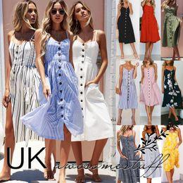 Wholesale uk buttons - UK Womens Summer Holiday Beach Bardot Button Through Ladies Sun Dress Size 6-20