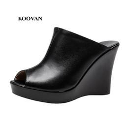 Wholesale super high platform wedges - Koovan Women Sandals 2017 Fashion Woman Leather Sandals Wedges With Women High-heeled Shoes Fish Head Black Platform Shoes 33-41