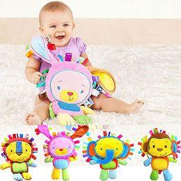 2019 juguetes de navidad mono Bebé sonajero juguetes animales mano campanas de peluche bebé juguete alta calidad Newbron regalo navidad animal elefante / mono / león / conejo rebajas juguetes de navidad mono
