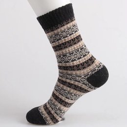Wholesale hot winter thick socks - 5pairs  Lot Fashion Men 'S Winter Casual Wool Socks Thick Line Thermal Soft Socks 5colors Hot Sale Free Size