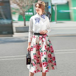 Wholesale Rose Swing - Europe and The United States Fashion Ladies Elastic Waist Swing Type Exquisite Rose Print Zippered Skirt