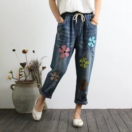 Wholesale High Waist Harem - 2018 Plus Size Lace-Up Waist Flower Summer Jeans For Woman Harem Pants Vintage Calf-Length Women Jeans Pants Femme