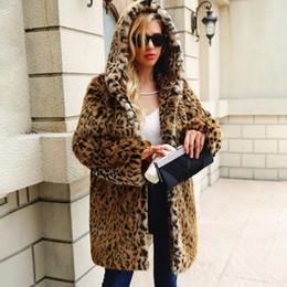 2019 hoodie del leopardo del invierno de las mujeres Leopardo Espesar Cálido Abrigo de piel sintética Mujeres 2018 Otoño Invierno Sudadera con capucha de manga larga Chaqueta larga Señoras Ropa de abrigo de cuero Retro Abrigos hoodie del leopardo del invierno de las mujeres baratos