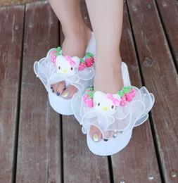 scarpe da donna all'ingrosso Strawberry Cat testa sandali in pizzo pantofole sandali da spiaggia pendenza donne estate dolce pantofola spedizione gratuita cheap strawberry laces wholesale da merletti della fragola all'ingrosso fornitori