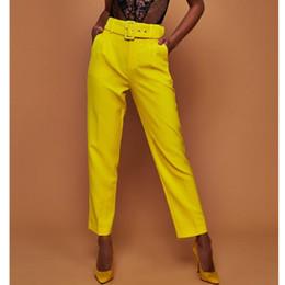 calça formal feminina Desconto Mulheres Outono Harem Pants Formal Tornozelo-comprimento Calças Doces Cores Feminino Clássico Cintura Alta Office Lady Sashes Magros Calças Brancas