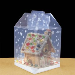 Wholesale House Packing Boxes - Wholesale chocolate house transparent cake box gingerbread house box PP food packing box free shipping wen5790