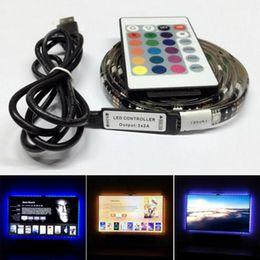 striscia di retroilluminazione Sconti Impermeabile 5 V LED Strip Light 0.5m 1 m 2 m 30 leds Flessibile 5050 RGB TV Retroilluminazione USB Cable e Mini Controller Natale luci a led