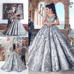 2019 zuhair murad silberne kleider Zuhair Murad Ballkleid Abendkleider 2019 V-Ausschnitt Backless Luxury Formal Abendkleider Mode Silber Partykleid Nach Maß
