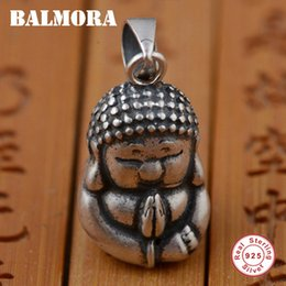 Wholesale Buddha 925 - BALMORA 100% Real 925 Sterling Silver Jewelry Religious Jewelry Buddha Pendants for Necklaces Men Accessories Gifts SY12358