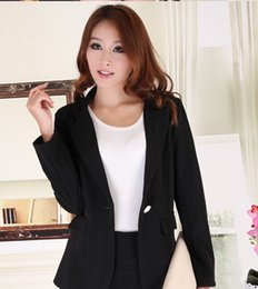 10940b8ad03 J43431 Full Sleeve Short Design Solid Color Single Button Notched Casual  Blazer Chiffon Blazers and Jackets