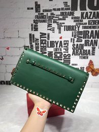 Wholesale Colour Bags - Top quality Calfskin Leather Clutch Bag Purse Fluorescent 13 colour