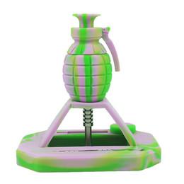 2020 granadas de água Conjunto de tubulação de fumar granada de Silicone Multi cor Silicone Micro NC com 14mm conjunta ponta de titânio tubo de água de vidro frete grátis granadas de água barato