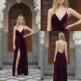 Wholesale Evening Dress Thin Straps - Burgundy Long Evening Dresses 2017 New Thin Shoulder Strap Sexy V neck Velevt Prom Dresses Evening Wear Prom Party Gown