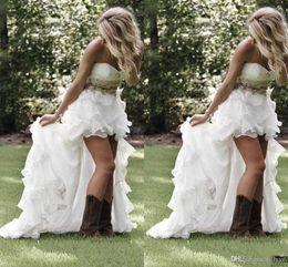 Robes De Mariée De Style Faible De Pays Bas 2017 Chérie Volants Organza Asymétrique Ajusté Salut-lo Blanc Mariée Robes De Mariée ? partir de fabricateur