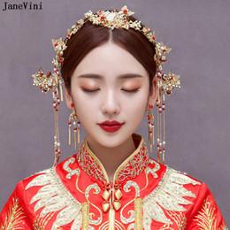 JaneVini 2018 Vintage cinese tradizionale copricapo da sposa Hairpin donne  oro perle in rilievo Moda accessori per la cerimonia nuziale fascia sconti  ... 8aae806392b0