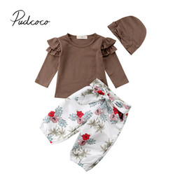 4f0154d0 2018 Brand New Newborn Infant Baby Girls Causal Clothes Sets 3PCS Long  Sleeve Ruffles Solid T-Shirts Tops+Bow Floral Pants+Hats