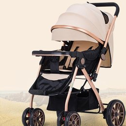 Wholesale Baby Carriage Wheels - Portable Baby Stroller Folding Baby Carriages Sit&Lie Prams For Newborns Infant in the four seasons with four Wheeled