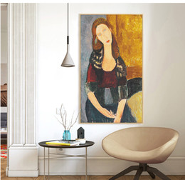 Wholesale poster making - Jeanne Hebuterne Au chapeau Amedeo Modigliani hand made paint Oil Painting Reproduction Print Poster Canvas Wall Art Home Decor