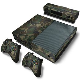 Wholesale Xbox Vinyl Decals - Green Camo Christmas Gift Vinyl Decals For Microsoft xbox one Console and 2 Controllers Cover Skin Stickers