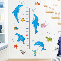 Wholesale Wall Height Measure - New Removable Cartoon dolphin Measure Height Wall Stickers Wallpaper Growth Chart Decal For Kid Room Decoration