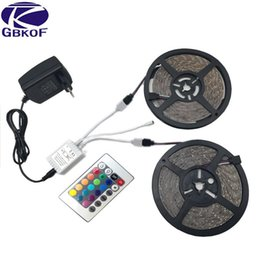 Wholesale Diode Ribbon - 5m 10m RGB LED strip light 3528 SMD diode ribbon tape non waterproof 60leds m+24Key remote controller+DC12V Adapter Power Supply
