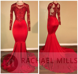 Wholesale Evening Gowns For Girls - Elegant 2018 Sheer Long Sleeves Mermaid Prom Dresses Appliques Sequined Red Satin Evening Gowns For Black Girl