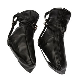 2020 stivali in pelle bdsm Femmina Partner Foot Restraints Fetish Play Boot Bdsm Bondage Gear Tortura Prodotti del sesso per adulti Ecopelle Nero BXA419 stivali in pelle bdsm economici