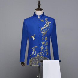 Wholesale Tunics For Men - Stand collar wedding suits for men blazer boys prom mariage Chinese tunic suit men slim masculino latest coat pant designs blue