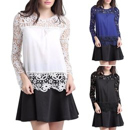 Wholesale Tee Shirt Jumper Lace - Ladies Black Fashion Casual Chiffon Lace Patchwork Long Sleeves Woman Top Blouse Jumper Shirt Tee T-Shirt