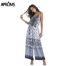 8d2a82586a2b Aproms Boho Leopard Print Chiffon Jumpsuit Romper Sexy V Neck Sleeveless  Bow Tie Beach Playsuit Overalls for Women Clothing
