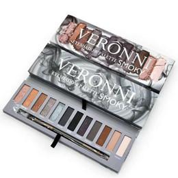 Wholesale Smoke Palette - Brand VERONNI Professional Beauty Cosmetics Smoked eye shadow Eye Shadow 12 Colors Makeup Glitter Eyeshadow Palettes