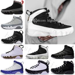 Wholesale Black Man Statue - Wholesale 9 Basketball Shoes Men Black space Jam Anthracite Copper Statue Barons Suede Fabric 9s IX Authentic Sport Trainer Mens Sneakers
