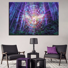 Wholesale canvas bird paintings - Canvas HD Prints Paintings Wall Art Abstract Pictures 1 Piece Pcs Psychedelic Kaleidoscope Owl Bird Posters Home Decor Framework