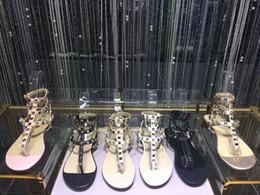 Wholesale leather spiked heels - Rivets Spiked Gladiator Flat Sandals Stones Studded Flip Sandal Big Size 35-42 Designer Women's Shoes Summer