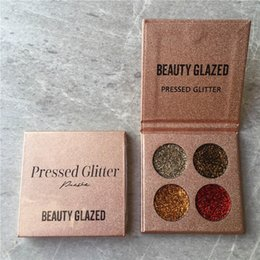 Wholesale full body makeup - Pressed Glitter Eyeshadow Palette Beauty Glazed Makeup 4 Colors Sequins Eye Shadow Palette Set Kit Brand Beauty Face Body Beauty Cosmetics