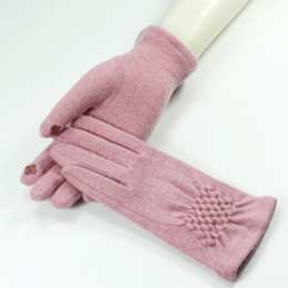 Wholesale Womens Winter Mittens - New Womens Elegant Gloves 2017 Fashion Phone Touching Screen Gloves Winter Warm Mittens Cashmere Female